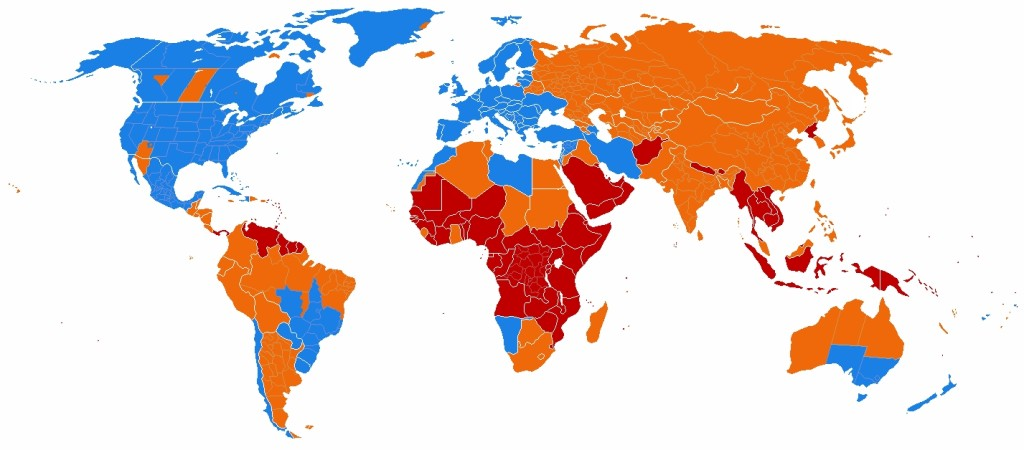 Daylight Saving World Subdivisions map